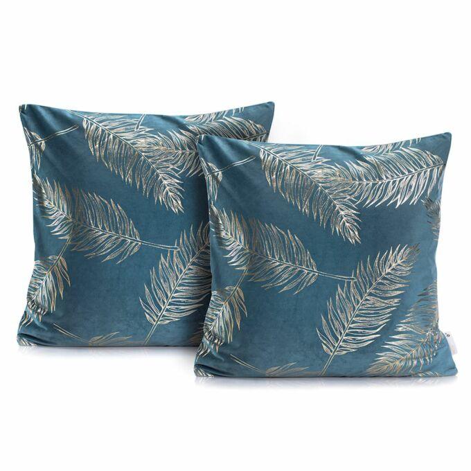 Palm tengerkék díszpárna huzat - 45*45 cm - 2 darab / csomag - extra minőségű szatén