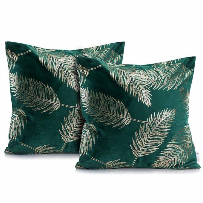Palm zöld díszpárna huzat - 45*45 cm - 2 darab / csomag - extra minőségű szatén
