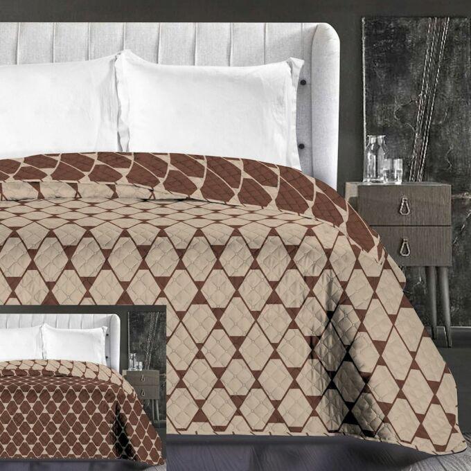 Rhombuses ágytakaró - 220*240 cm - bézs-barna, kétoldalas