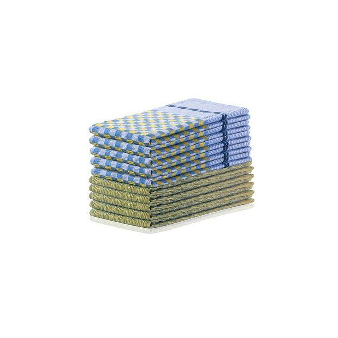Konyharuha szett - 100% pamut - 50*70 cm - Sárga és sötétkék (10 db)