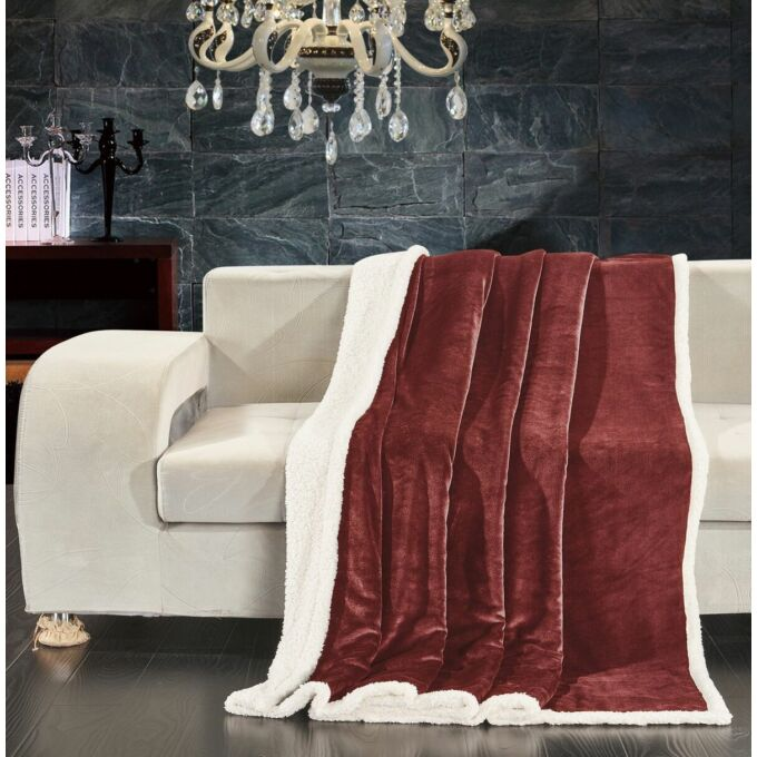 Teddy meleg serpa takaró - 150*200 cm - sötét piros - két oldalas