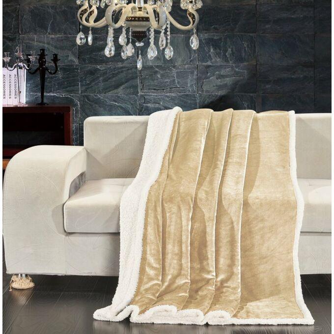 Teddy meleg serpa takaró - 150*200 cm - krém - két oldalas