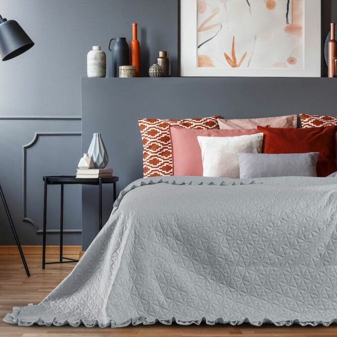 Tilia ágytakaró 220*240 cm - Szürke - fodros