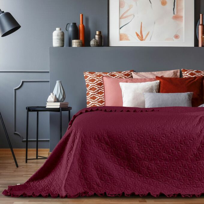 Tilia ágytakaró 240*260 cm - Rubin - fodros