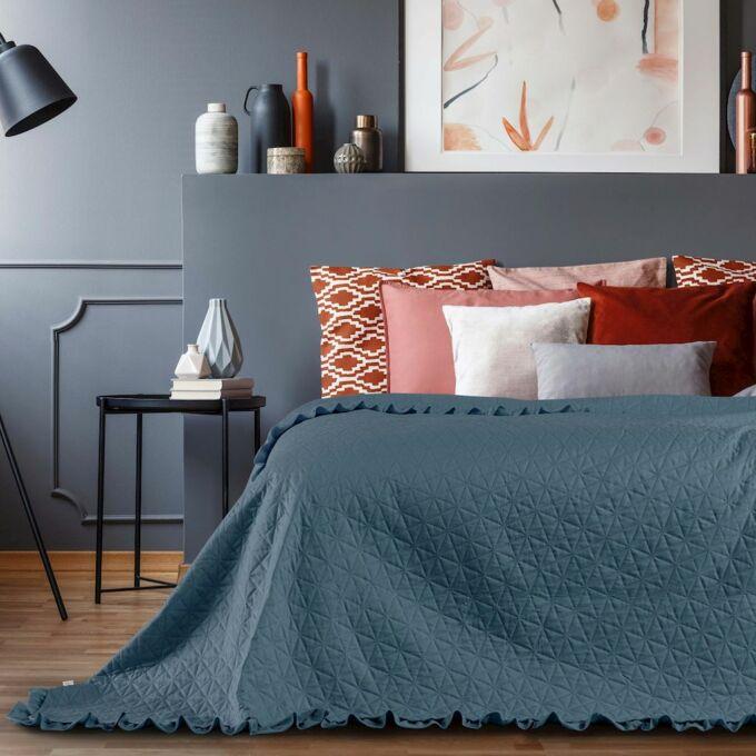 Tilia ágytakaró 240*260 cm - Tengerkék - fodros