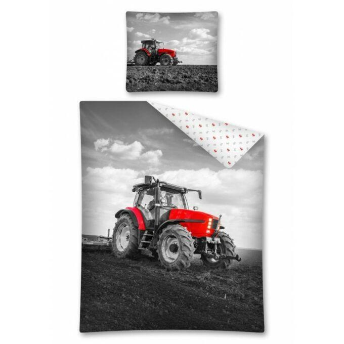 2 részes pamut Traktoros ágyneműhuzat - piros
