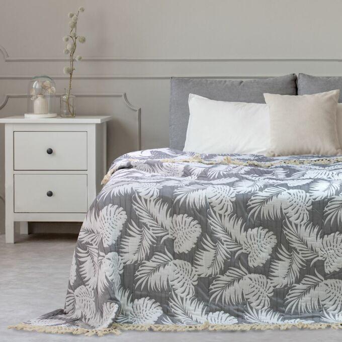 Tropicalleaves ágytakaró - 240*260 CM - szürke-fehér