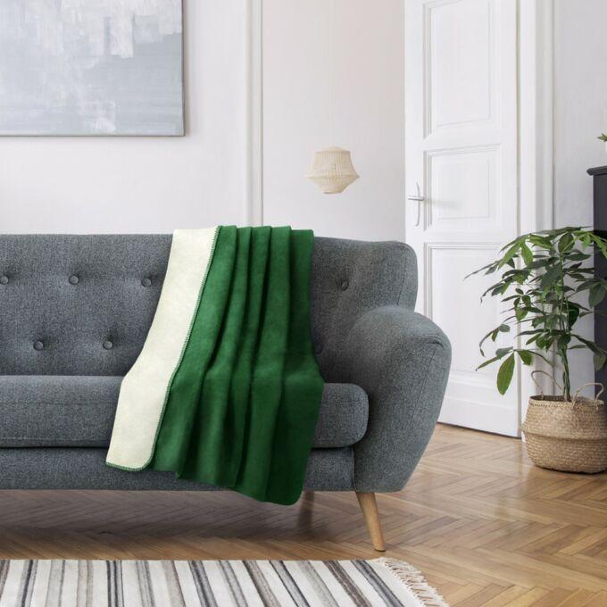 VIRKKUU prémium pléd - 150×200 cm -  sötétzöld+ecrü - extra puha