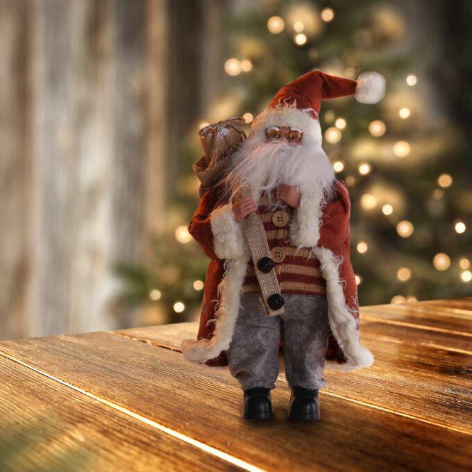 Karácsonyi dekorációs figura - Mikulás - 43 cm - piros